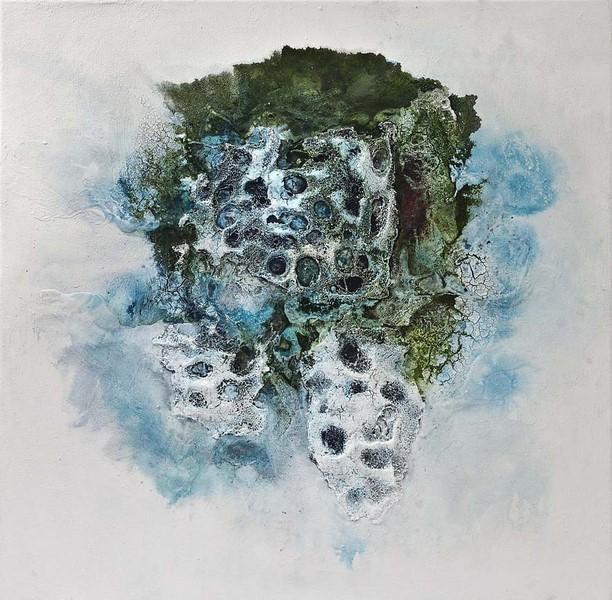 Federica Rossi, Tra madre e terra, 2016, tecnica mista su tela, cm. 100x100